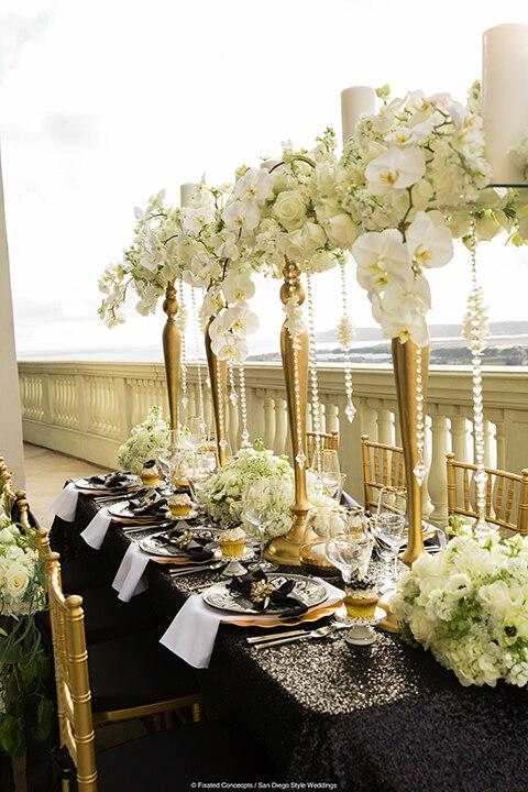 Black White Gold Elegant Wedding At Manchester Grand Hyatt